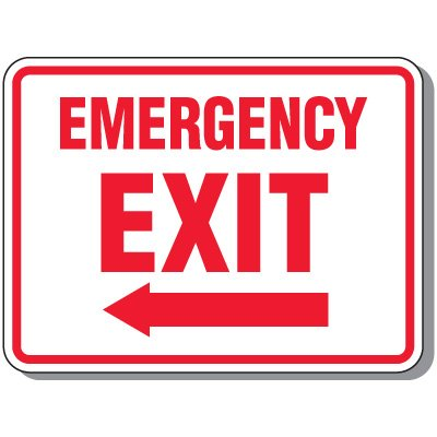 Emergency Exit (Arrow Left Graphic) - Emergency Exit Signs
