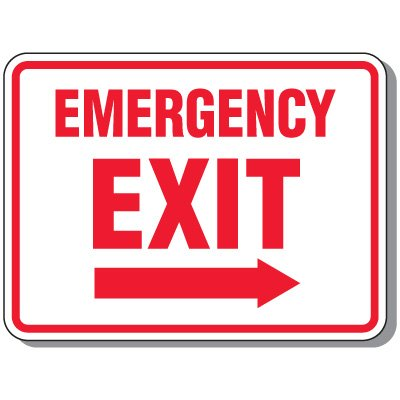 Emergency Exit (Arrow Right Graphic) - Emergency Exit Signs