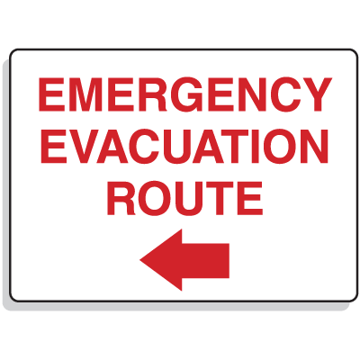 Emergency Signs-  Evacuation Route Arrow Left