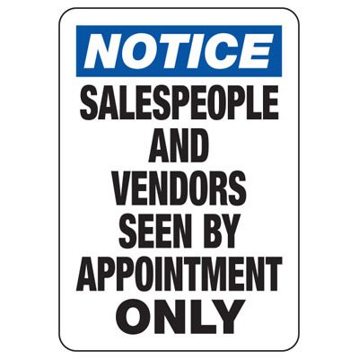 Salespeople Seen By Appointment Only - Employee and Visitor Signs