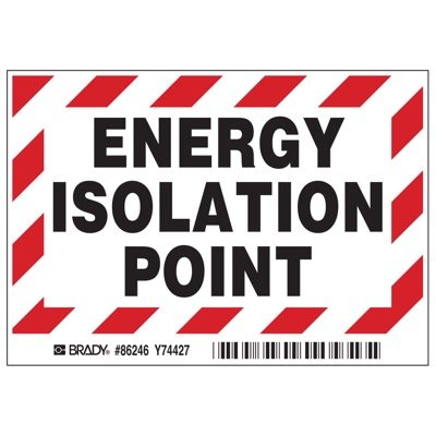 Brady Energy Isolation Point Labels - Part Number - 86246 - 5/Pack