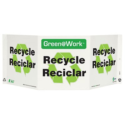 En/Sp Bilingual Tri View Recycling Sign
