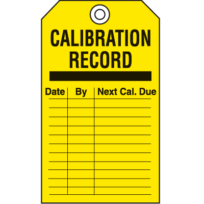 Safety Inspection Tags - Calibration Record