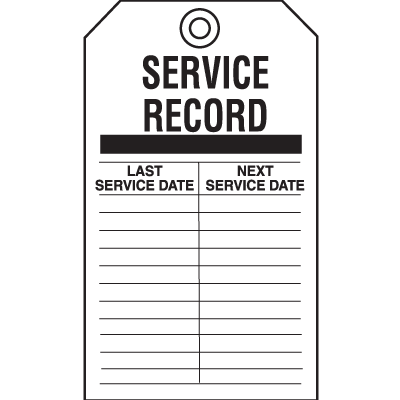 Safety Inspection Tags - Service Record