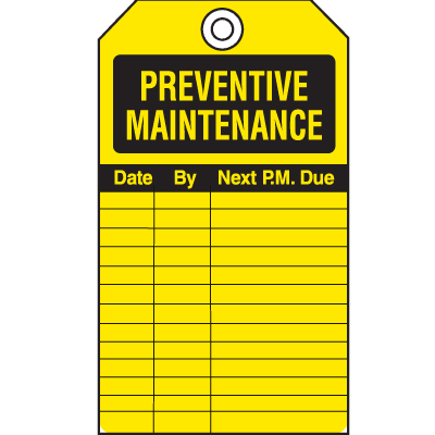 Safety Inspection Tags - Preventive Maintenance