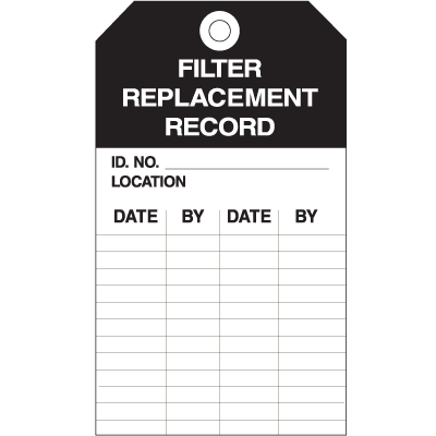 Equipment Inspection Tags - Filter Replacement Record