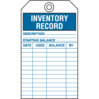 Safety Inspection Tags - Inventory Record