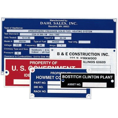 Custom Sized Etched Equipment Nameplates