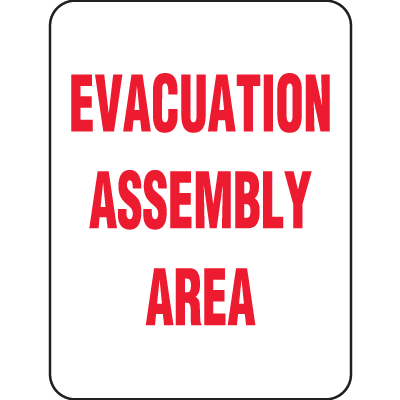 Evacuation Assembly Area Shelter Signs