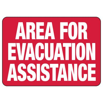 Area For Evacuation Assistance - Evacuation Sign