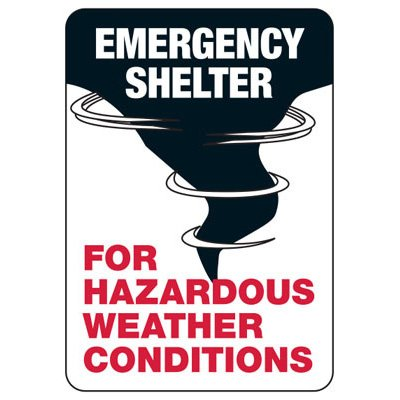 Emergency Shelter For Hazardous Weather - Evacuation Sign