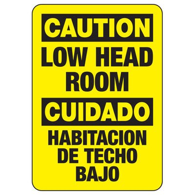 Bilingual Caution Low Head Room - Evacuation Sign