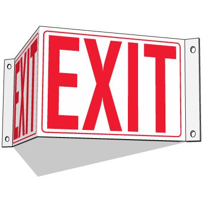 Exit - 3-Way Fire Exit Signs