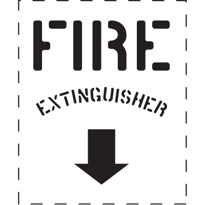 Fire Extinguisher with Down Arrow - Fire & Exit Equipment Stencil