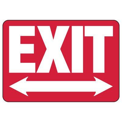 Exit (Double Directional Arrow) - Industrial Exit Signs