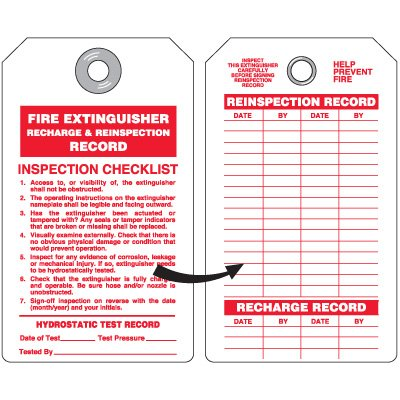 Fire Extinguisher Recharge & Reinspection Record Tags