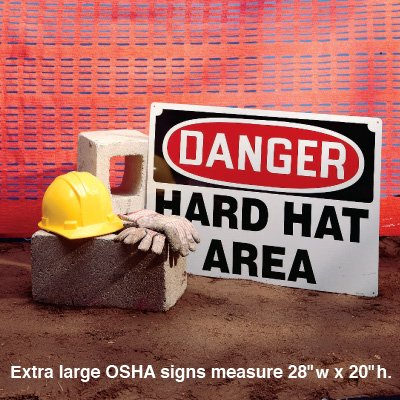 Extra Large OSHA Signs - Caution - Hard Hat Area