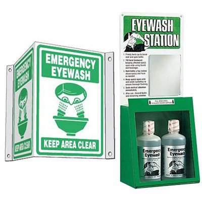 Eyewash and 3-Way Sign Kit - Emergency Eyewash Keep Area Clear