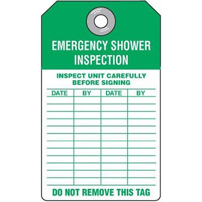 Emergency Shower Inspection Tag