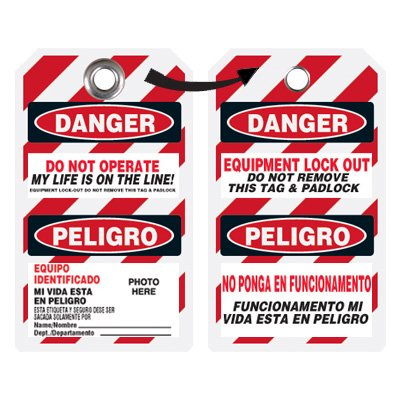 Self-Laminating Employee Photo Lockout Tags - Do Not Operate (Bilingual)