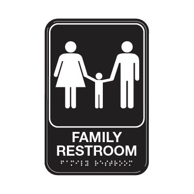 Family Restroom W/ Symbol - Graphic ADA Braille Tactile Signs
