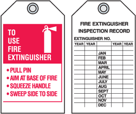 "Fire Extinguisher P.A.S.S. Tags - 4""W x 7""H"