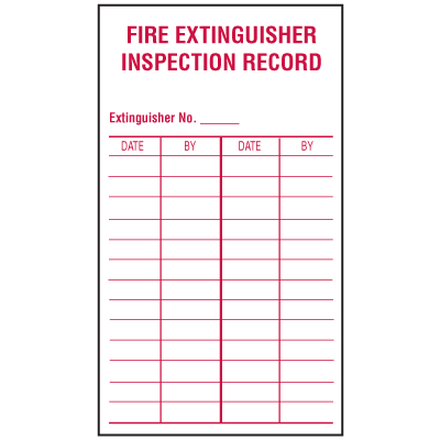 Fire Extinguisher Inspection Record Labels