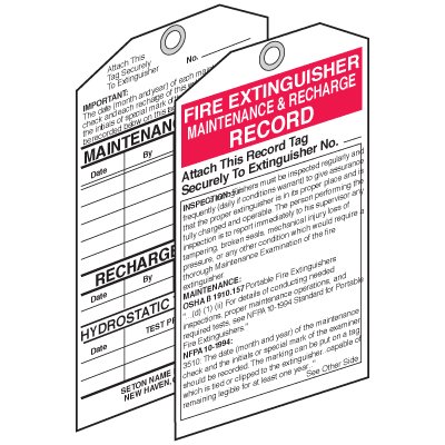 Fire Extinguisher Tags - Maintenance and Recharge Record