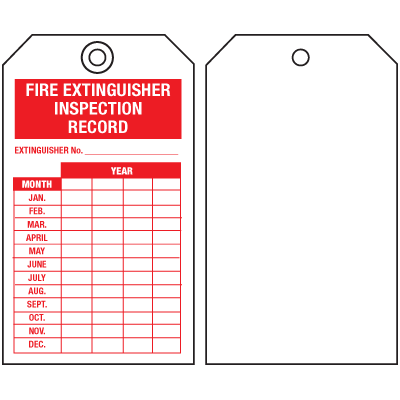 Fire Extinguisher Tags - Inspection Record (Single-Sided)