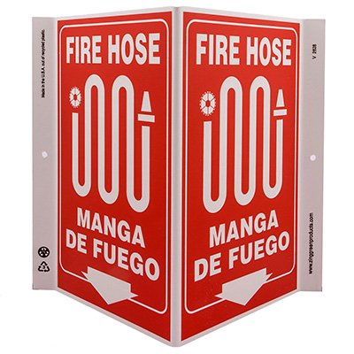 Fire Hose Bilingual V-Style Sign