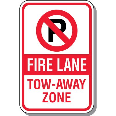 Fire Lane Signs - Fire Lane Tow-Away Zone (With Graphic)