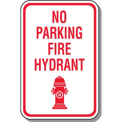 Fire Lane Signs - No Parking Fire Hydrant (With Graphic)