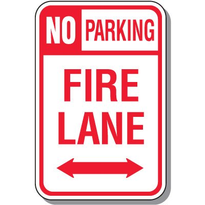 Fire Lane Signs - No Parking Fire Lane (Double Arrow)