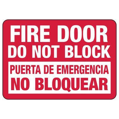 Bilingual Fire Door Do Not Block - Fire Safety Sign