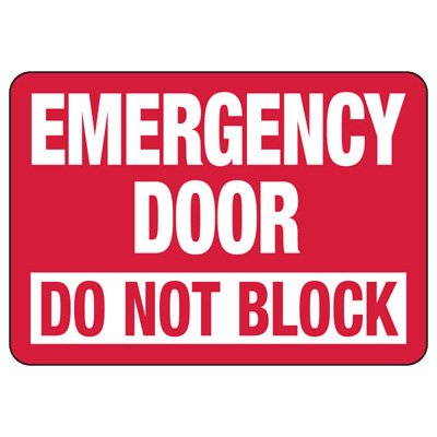 Emergency Door Do Not Block - Fire Safety Sign