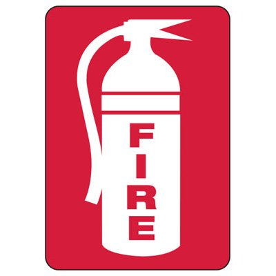 Fire With Fire Extinguisher Graphic - Fire Safety Signs