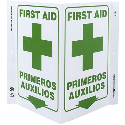 First Aid Bilingual V-Style Sign