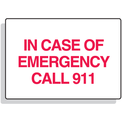 First Aid Signs - In Case Of Emergency Call 911