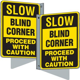 Flanged Traffic Signs - Slow Blind Corner