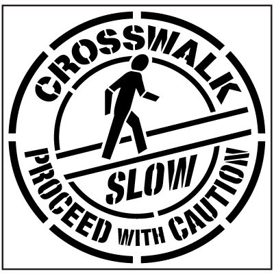 Large Floor Stencil - Crosswalk, Proceed With Caution