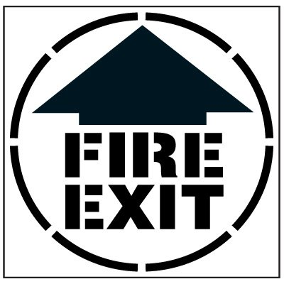 Large Floor Stencils - FIRE EXIT w/ Arrow