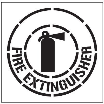 Large Floor Stencils - Fire Extinguisher Symbol & Text