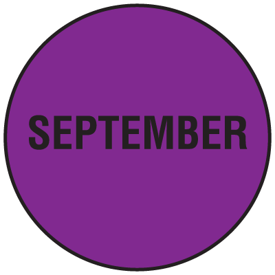 Fluorescent September Dot Labels