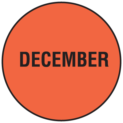 Fluorescent December Dot Labels