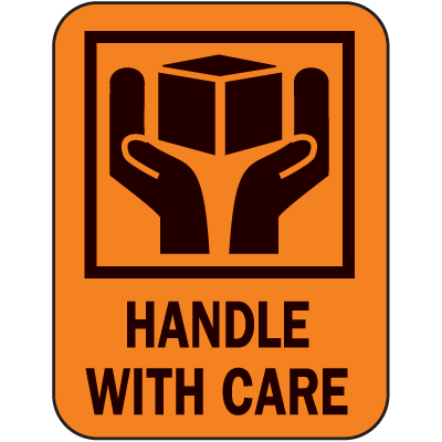 Handle With Care Fluorescent Handling Labels