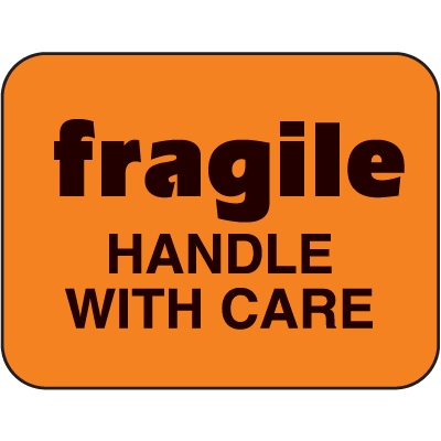 Fragile Handle With Care Fluorescent Handling Labels