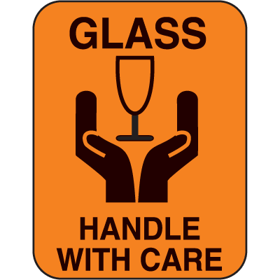 Glass Handle With Care Fluorescent Handling Labels