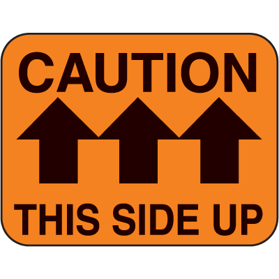 Caution This Side Up Fluorescent Handling Labels