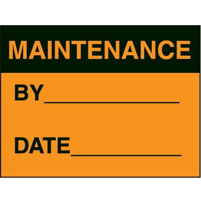 Maintenance By Date Fluorescent Paper Labels