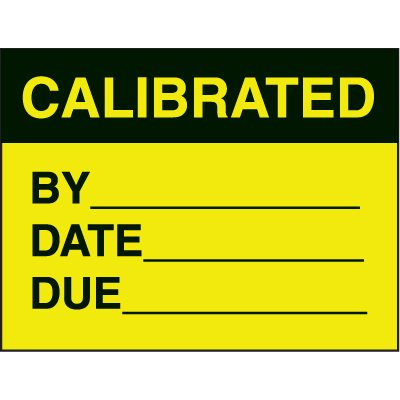 Calibrated By Date Due Fluorescent Paper Labels